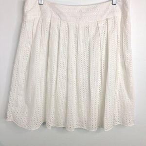 Liz Claiborne Petite White Eyelet Full Skirt 14P
